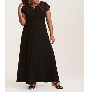 Torrid Black Crochet Lace Insert Maxi Dress